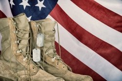 military boots and american flag